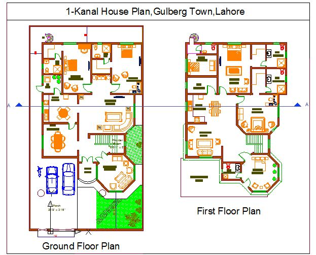Floor plan in autocad file plan home plans ideas picture - Kanal House Plan House Design Ideas